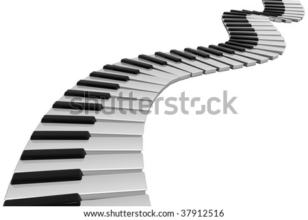 render of a piano keyboard - stock photo