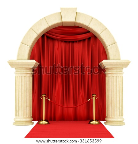 render of a red carpet with a  golden stanchion ,isolated on white - stock photo