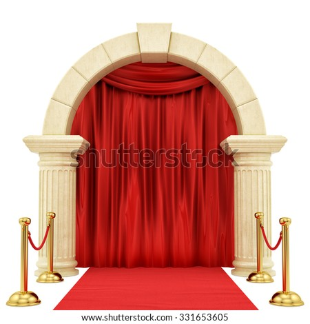 render of a red carpet with golden stanchions ,isolated on white