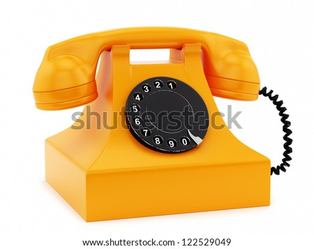render of a retro telephone, isolated on white - stock photo