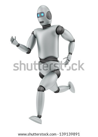 render of a running robot, isolated on white
