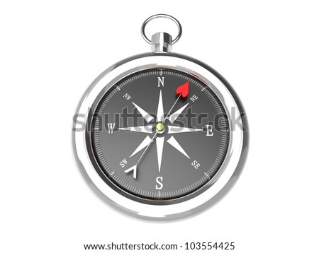 Render of a silver compass showing the direction to love isolated on a white background - stock photo