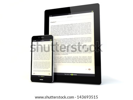 render of a tablet pc and a smart phone with a book app on the screen