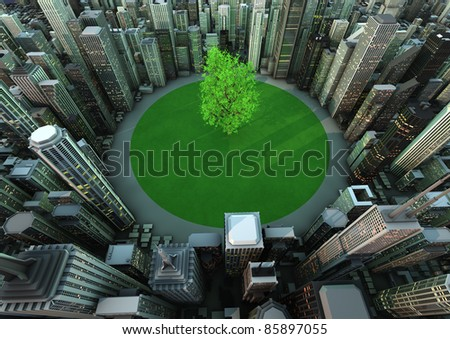 render of a tree in the middle of a city - stock photo