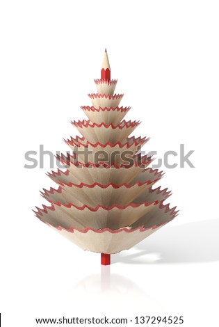 Render of a tree made with a pencil and its wooden shavings on a white isolated background - stock photo