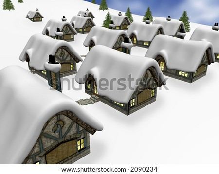 render of a village during winter time - stock photo