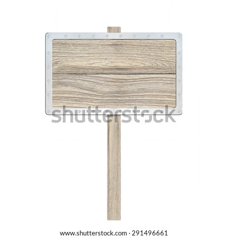 render of a wood sign, isolated on white - stock photo