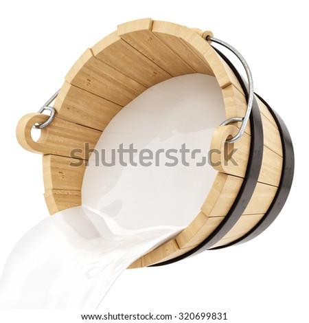 render of a wooden milk bucket, isolated on white - stock photo
