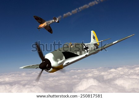Render of a ww2 Focke-Wulf 190 3D model in flight