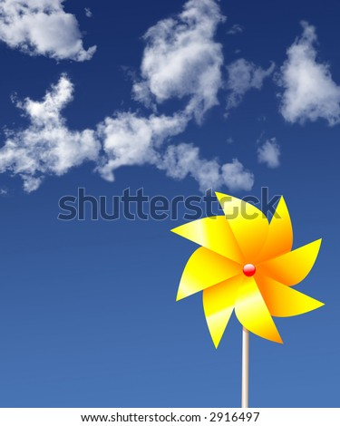 Render of a yellow pinwheel,  whirligig toy/garden-ornament, with a floral look, against a summer sky. NOT A PHOTO.
