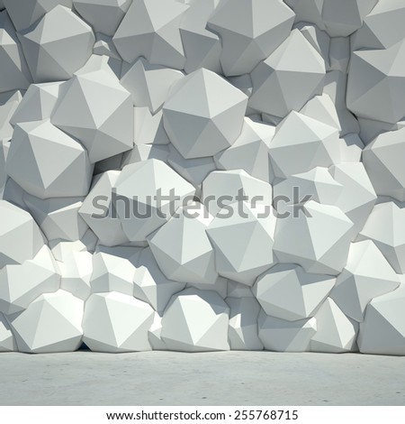 Render of abstract geometric concrete wall. 3d background. - stock photo