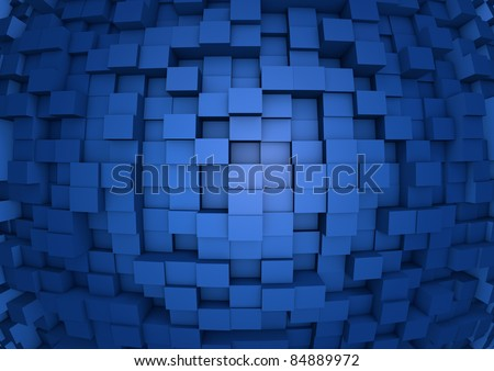render of an abstract cube wall - stock photo