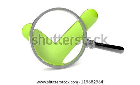 render of an approve icon and a magnifying glass
