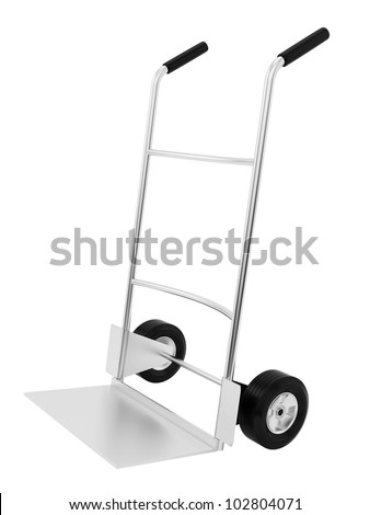render of an empty hand truck, isolated on white - stock photo