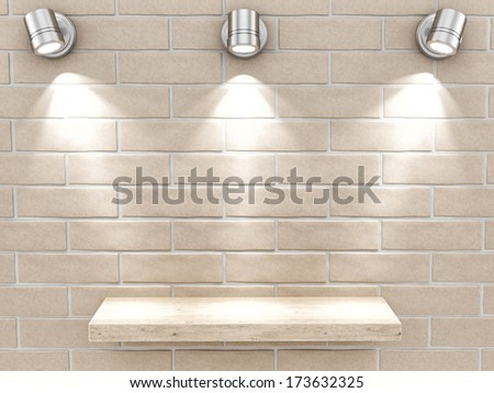 render of an empty shelf on a brick wall - stock photo