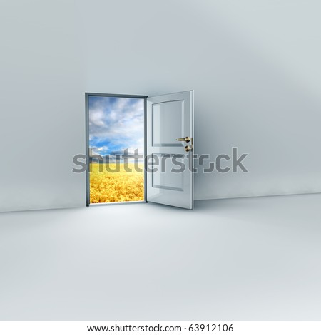render of an open door to a dreamy place. - stock photo