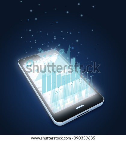 render of an original smartphone illustration with graphs on screen