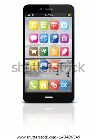render of an original smartphone isolated - stock photo
