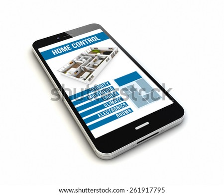 render of an original smartphone with home smart application on the screen - stock photo