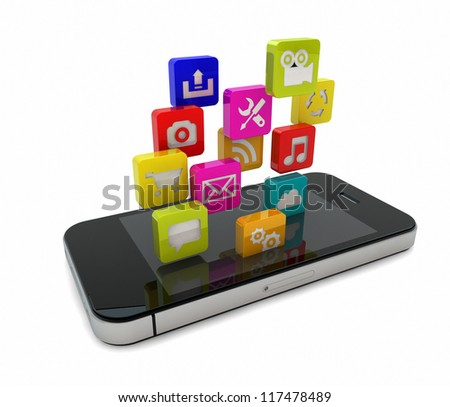 render of an smart phone with falling apps