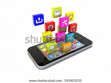render of an smartphone with app icons