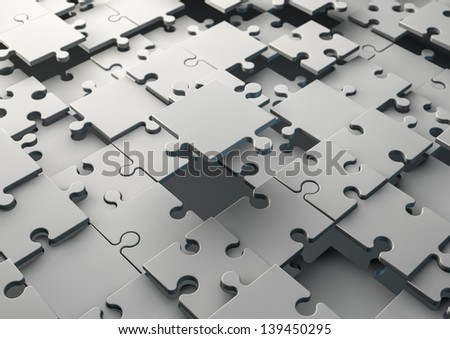render of an uncompleted jigsaw - stock photo