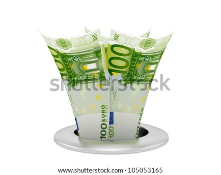 render of banknotes in the sink, isolated on white - stock photo