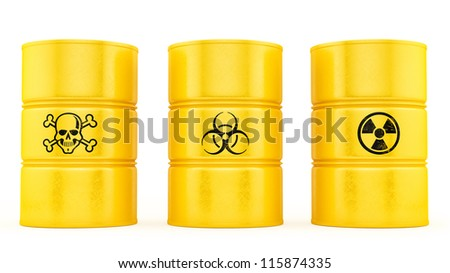 render of 3 barrels, isolated on white - stock photo