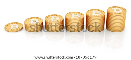 render of bitcoins, isolated on white  - stock photo