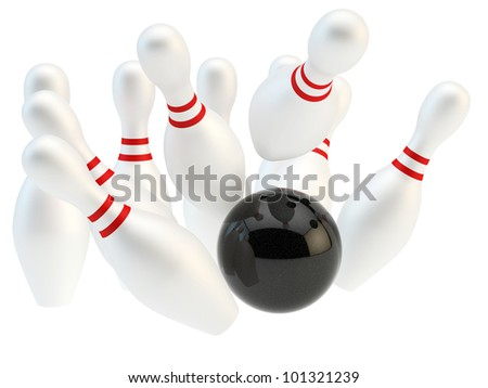 render of black bowling ball and pins - stock photo