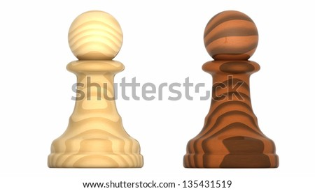 Render of Chess Pieces Pawns. - stock photo