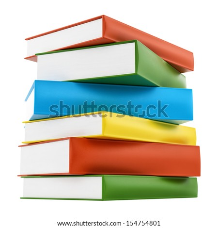 render of colorful leather cover books, isolated on white - stock photo