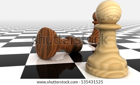 Render of Confrontation of Chess Pieces Pawns. - stock photo