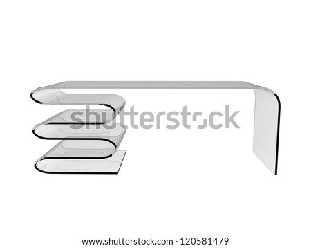 Render of creative desk isolated on a white background - stock photo