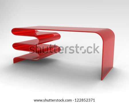 Render of creative desk on a white background - stock photo