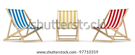 render of 3 deck chair in different color and position - stock photo