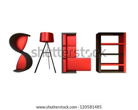 Render of different furniture forming the word sale - stock photo