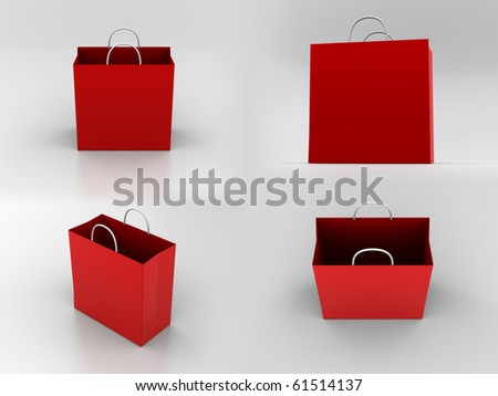 Render of different views of a paper bag - stock photo