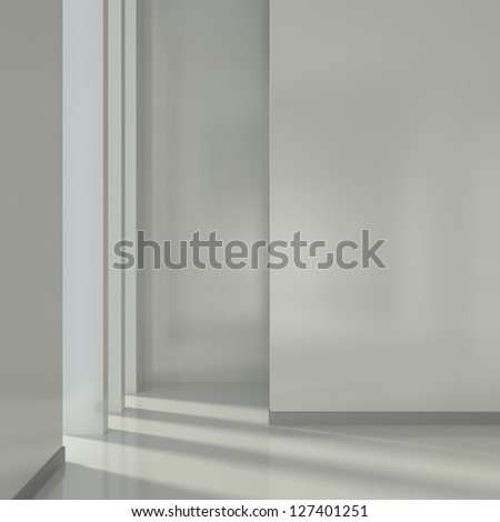 Render of Empty Interior with Window - 3d illustration - stock photo