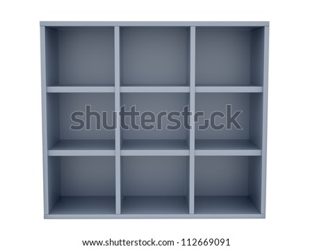 render of empty shelves, isolated on white