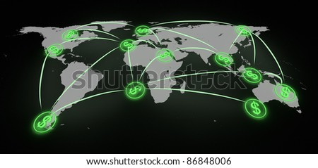 render of finance at a global scale - stock photo