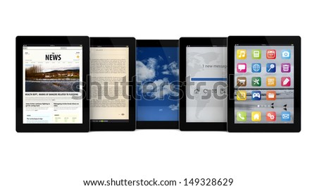 render of five tablets with different apps on the screen