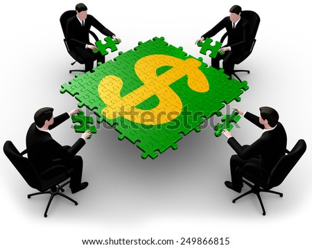 Render of four  businessman joining table of puzzle  pieces symbol dollar  - stock photo