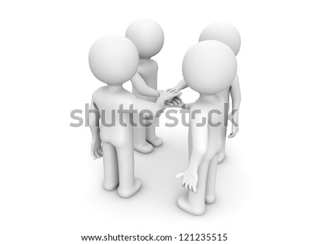 render of four characters shaking hands - stock photo