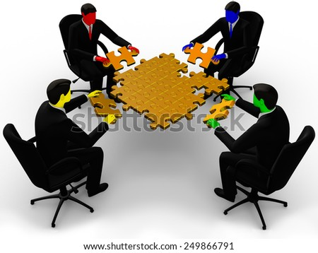 Render of four color  businessman joining table of puzzle golden  pieces - stock photo