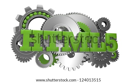 render of gears and the text html 5