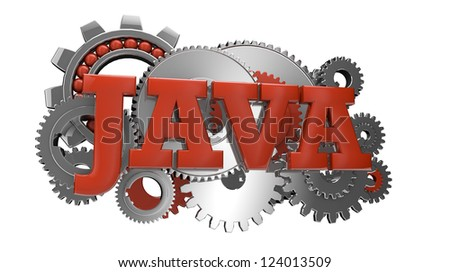 render of gears and the text java - stock photo