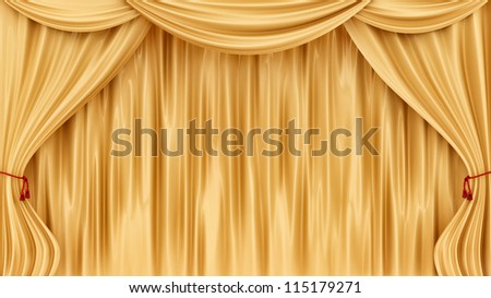 render of gold curtains