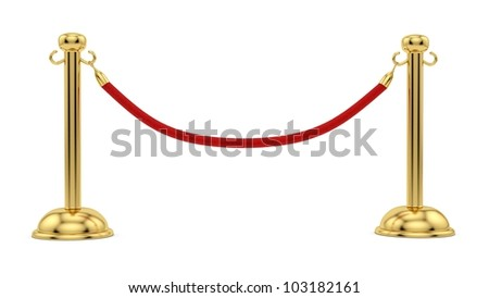 render of gold stanchions - stock photo