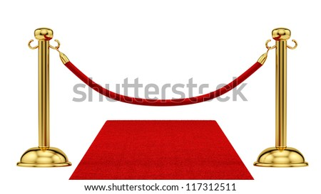 render of gold stanchions and a red carpet